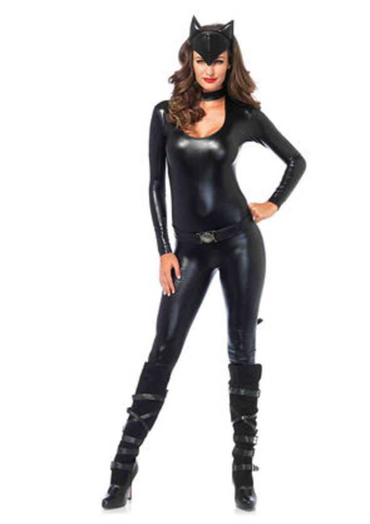 3PC.Frisky Feline,keyhole catsuit w/attached tail,belt, ear headband in BLACK