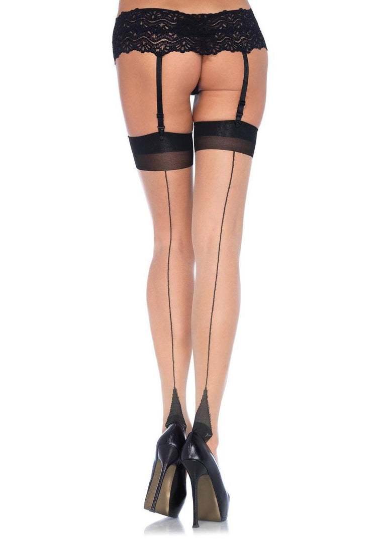 The Lycra Sheer2 Tone Thigh Hi W/ Backseam And Cuban Heel in Nude/Black