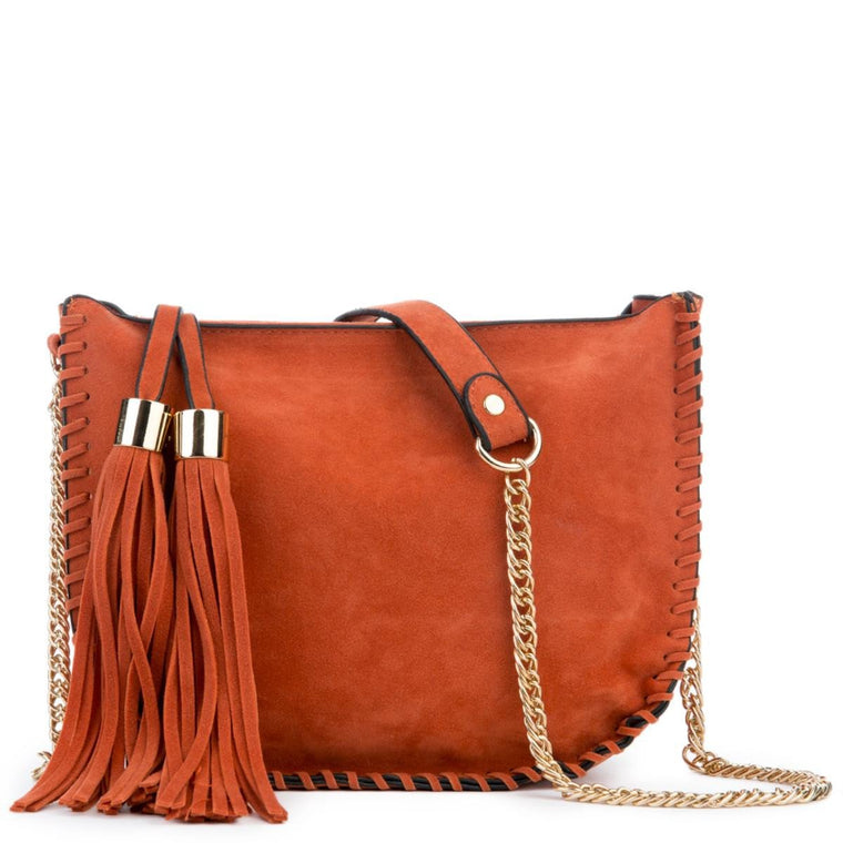 Tangerine Fringe Suede Shoulder Purse