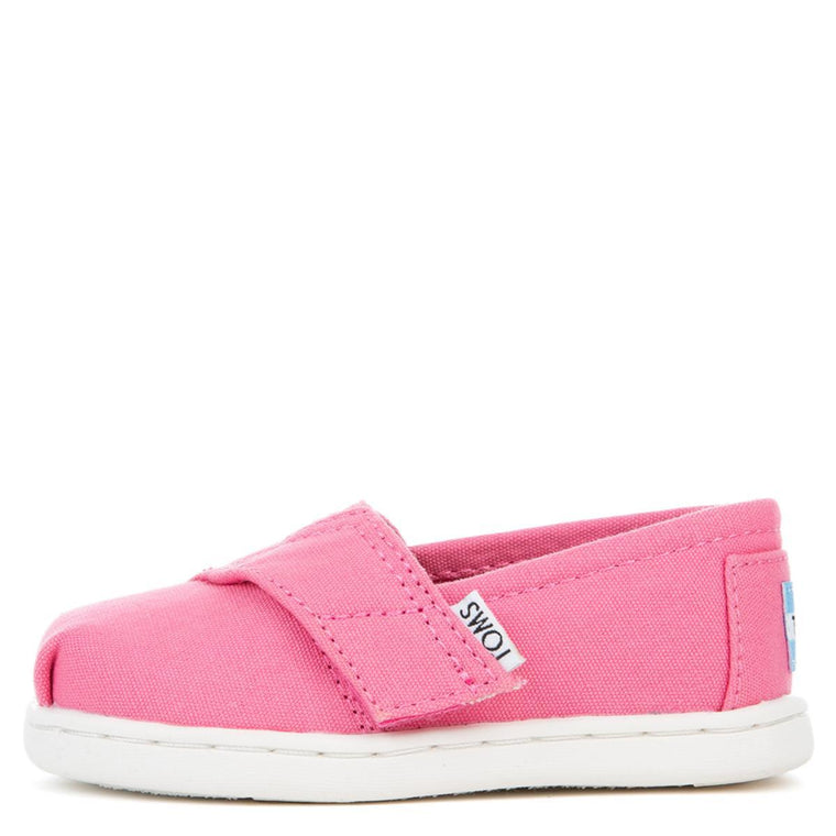 Tiny Toms Classic Bubblegum Pink Canvas Flat