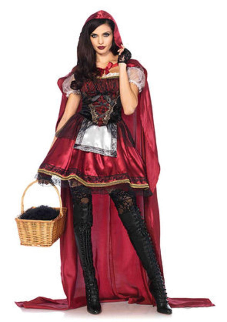 2PC.Captivating Miss Red,satin and velvet dress,floor length hooded cape in BURGUNDY