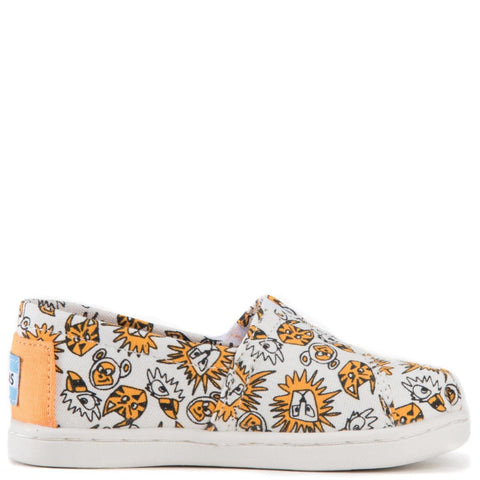 Tiny Toms: Classic Orange Canvas Wild Cats Flats