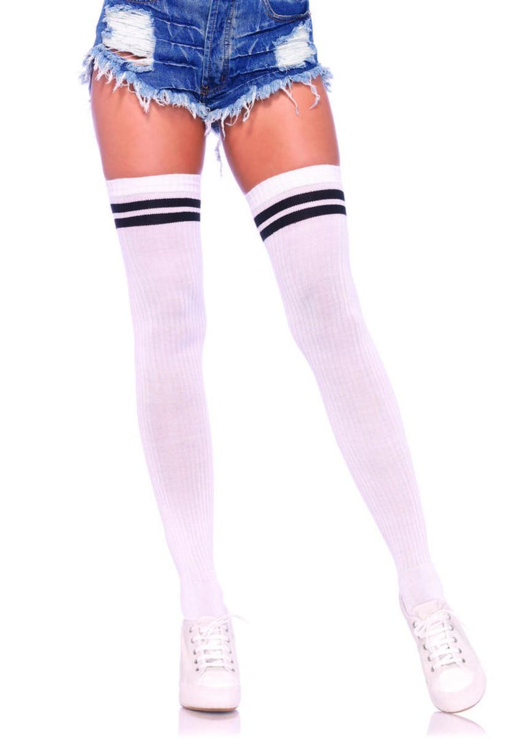Ribbed athletic thigh highs in WHITE/BLACK
