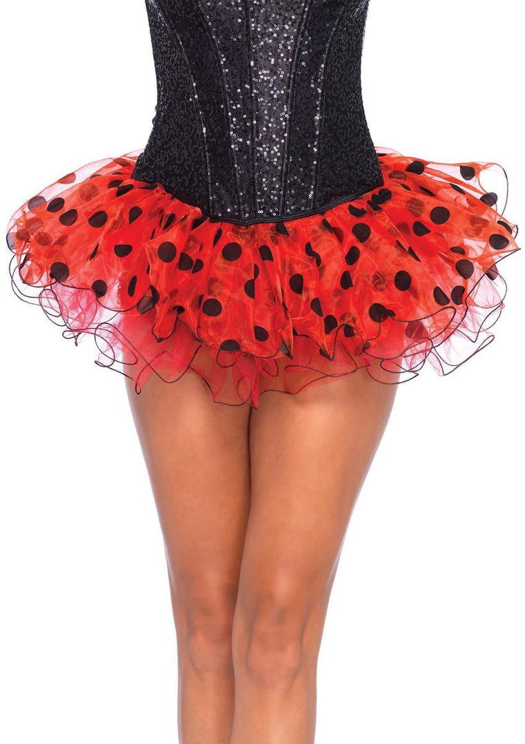 Chiffon polka dot tutu in RED/BLACK