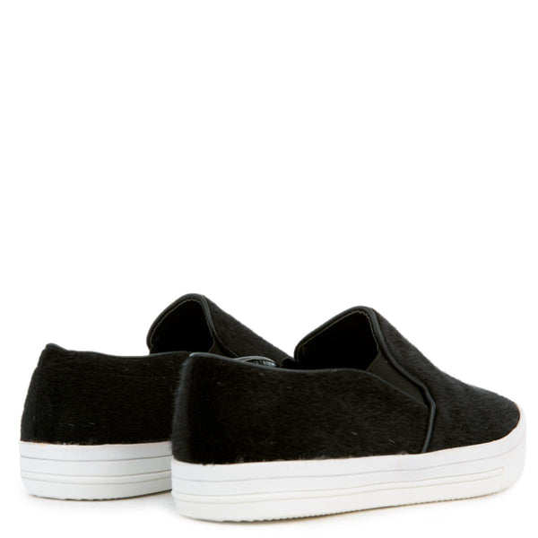 Women's Pony Hair Black Slip On
