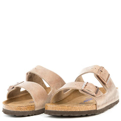 Birkenstock for Women: Narrow Arizona Waxy Leather Soft Footbed Tabacco Brown Sandals