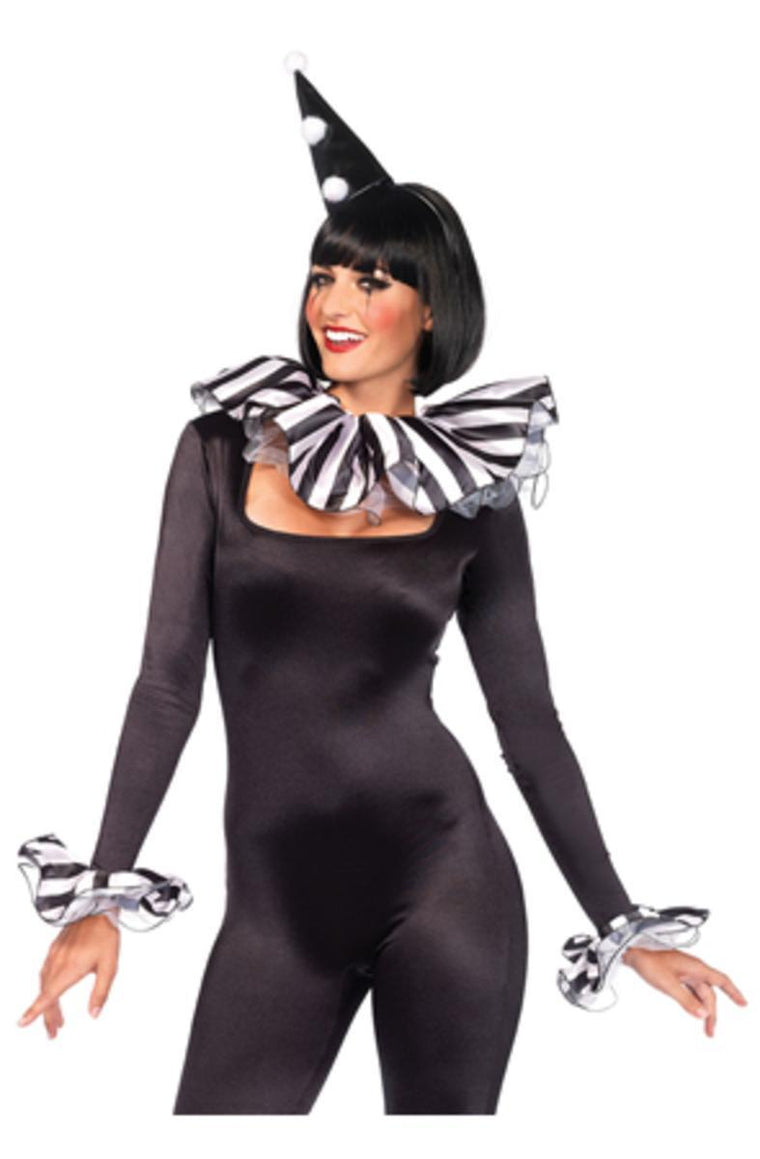 3PC.Harlequin Kit,ruffle neck piece,arm cuffs,hat in BLACK/WHITE