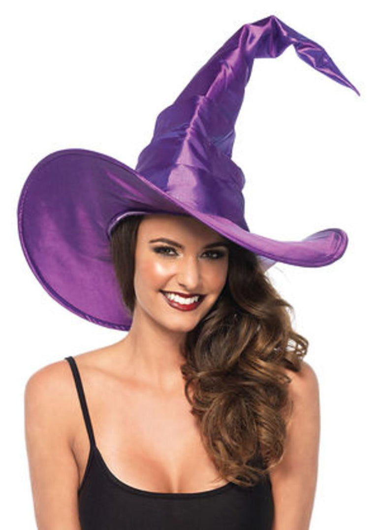 Large ruched witch hat in PURPLE