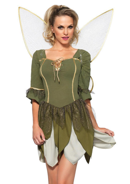 The 2PC. Rebel Tink, Woodland Petal Dress, Gold Lurex Wings in Green