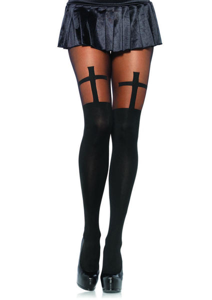 Spandex opaque cross pantyhose with sheer thigh accent in BLACK