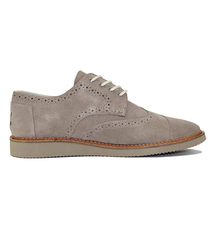 Toms for Men: Brogue Desert Taupe Suede Leather Oxford