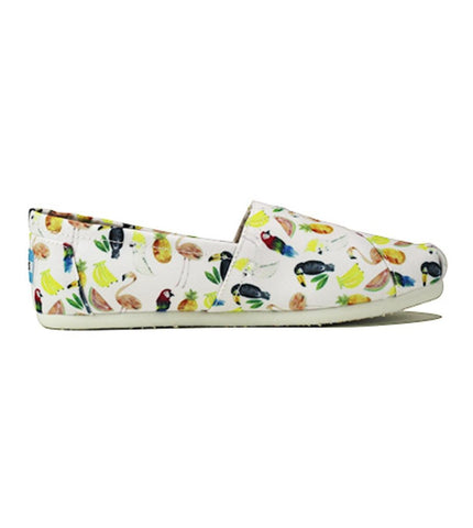 Toms for Women: Classic White Canvas Printed Parrots