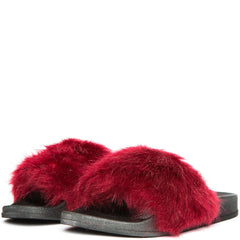 Cape Robbin Moira-5 Women's Wine Fur Slide