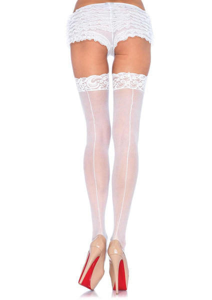 Sheer Stocking W/Back Seam Lace Top in WHITE