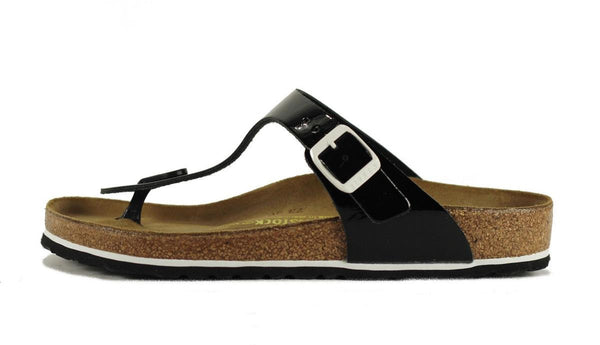 Birkenstock for Women: Gizeh Patent Leather Black Sandals