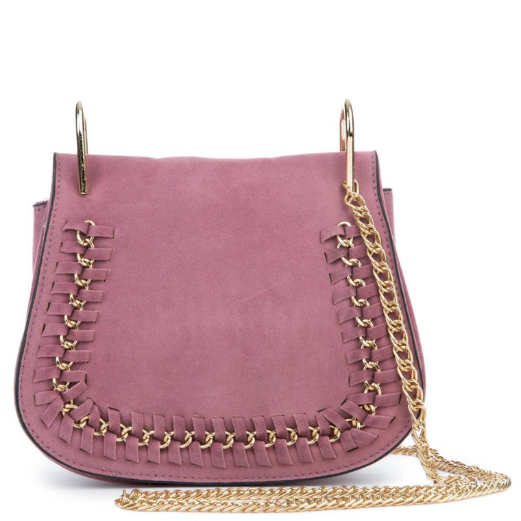 Mauve Mini Suede Shoulder Purse