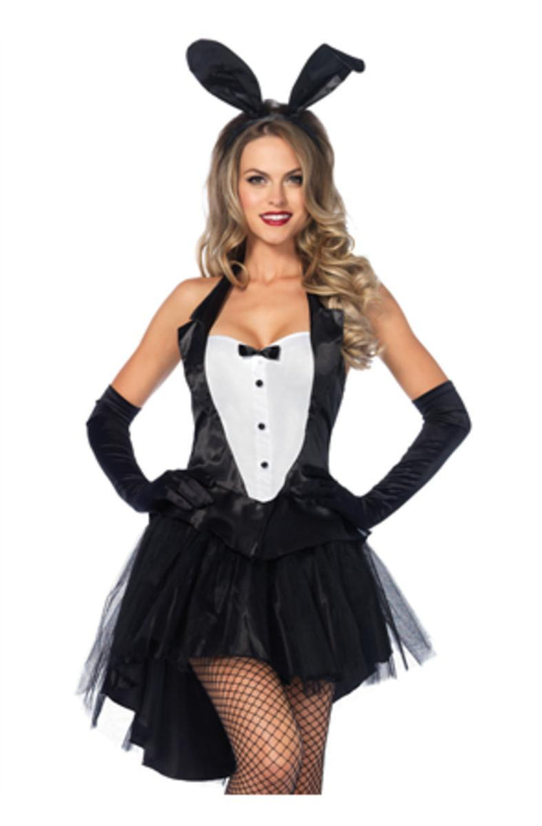 3PC.Tux & Tails Bunny tuxedo top tutu skirt w/tail ear headband in BLACK/WHITE