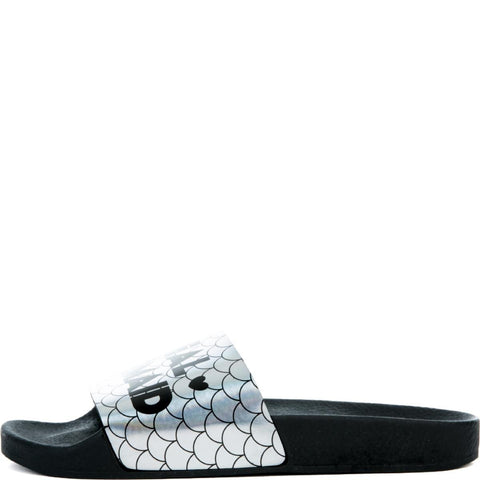 Women's Mermaid Slides in Black and Silver