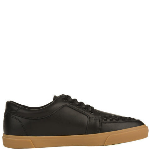 T.U.K for Men: Black Leather No-Ring VLK Sneakers