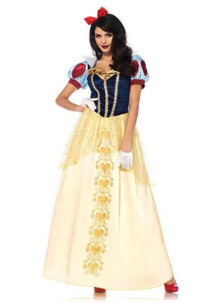 2PC.Deluxe Snow White,ball gown and matching hair bow in MULTICOLOR