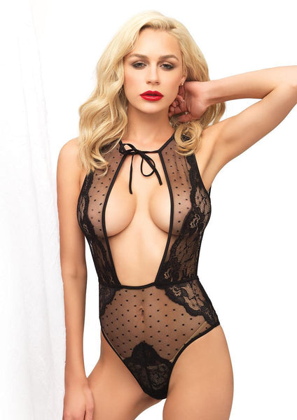 Swiss dot sheer and lace brazillian back teddy and T-strap back