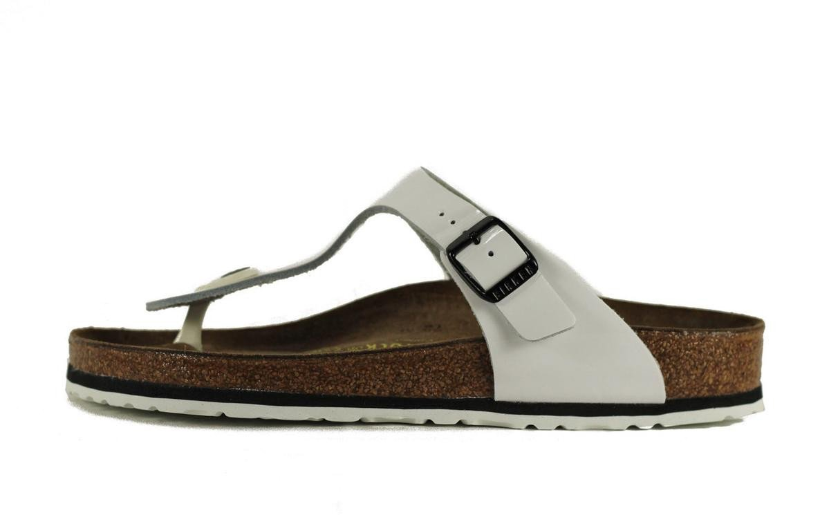 Birkenstock for Women: Gizeh Patent Leather White Sandals