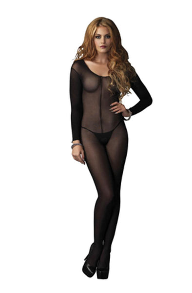 Sheer Long Sleeves Bodystocking in BLACK