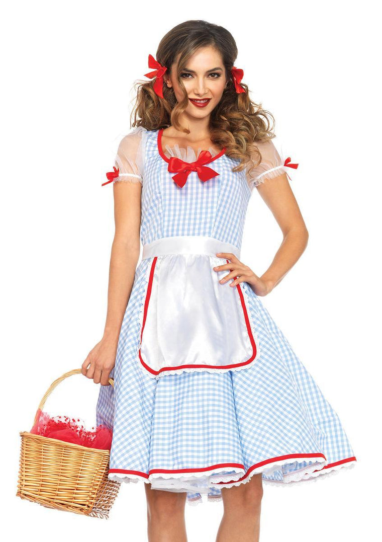 2PC.Kansas Sweetie,gingham dress and ribbon trimmed apron in BLUE/WHITE