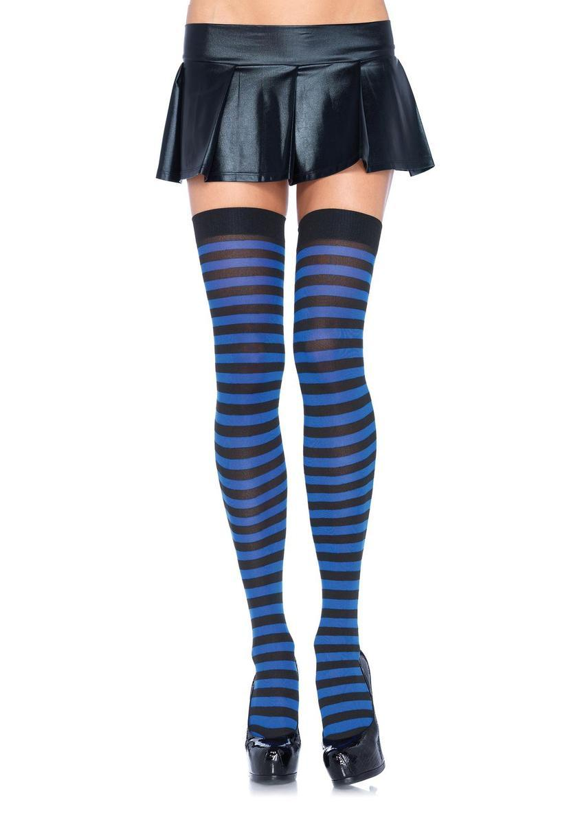 Nylon Stocking W/ Stripe O/S BLACK/ROYAL