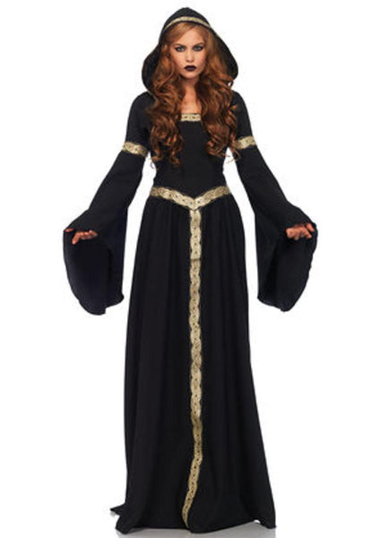 Pagen Witch, long hooded cloak w/braid trim and corset lace up back in BLACK/GOLD