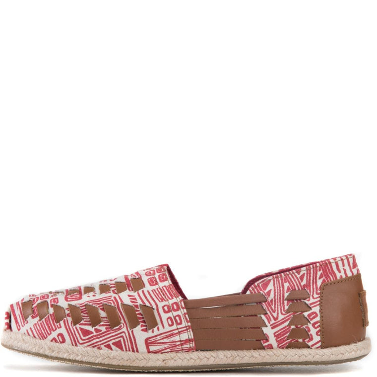 Toms for Women: Huarache Alpargate Natural Red Tiki Print