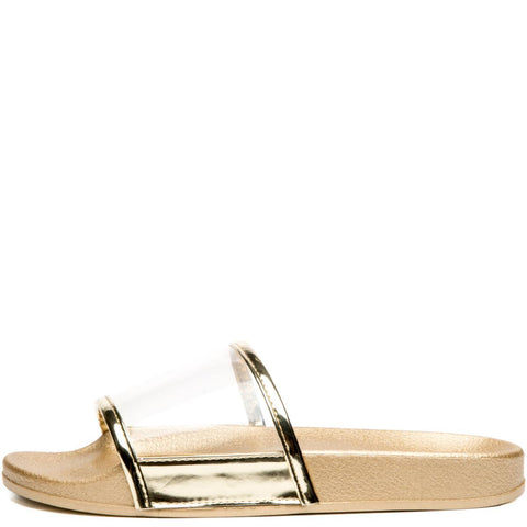 Cape Robbin Moira-11 Gold Women's Slides
