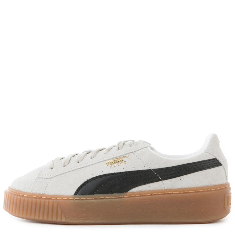 Women's Platform Core Whisper White-Puma Black Suede Sneakers