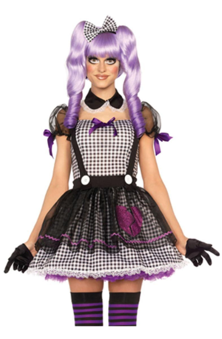 3PC.Dead Eye Dollie babydoll apron dress collar and bow headband in BLACK/WHITE