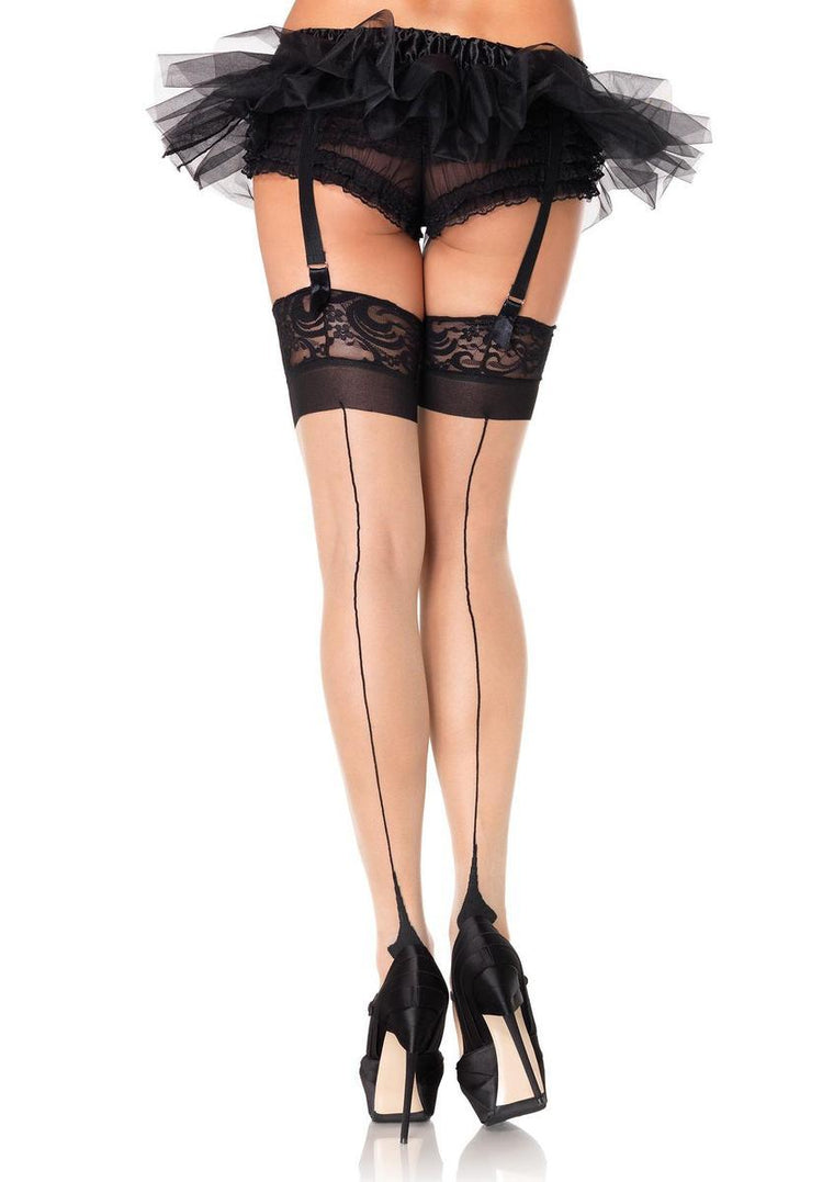 Spandex sheer cuban heel backseam lace top thigh highs in NUDE/BLACK