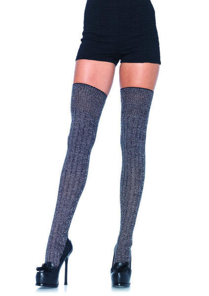 Heather acrylic rib knit thigh highs in GREY