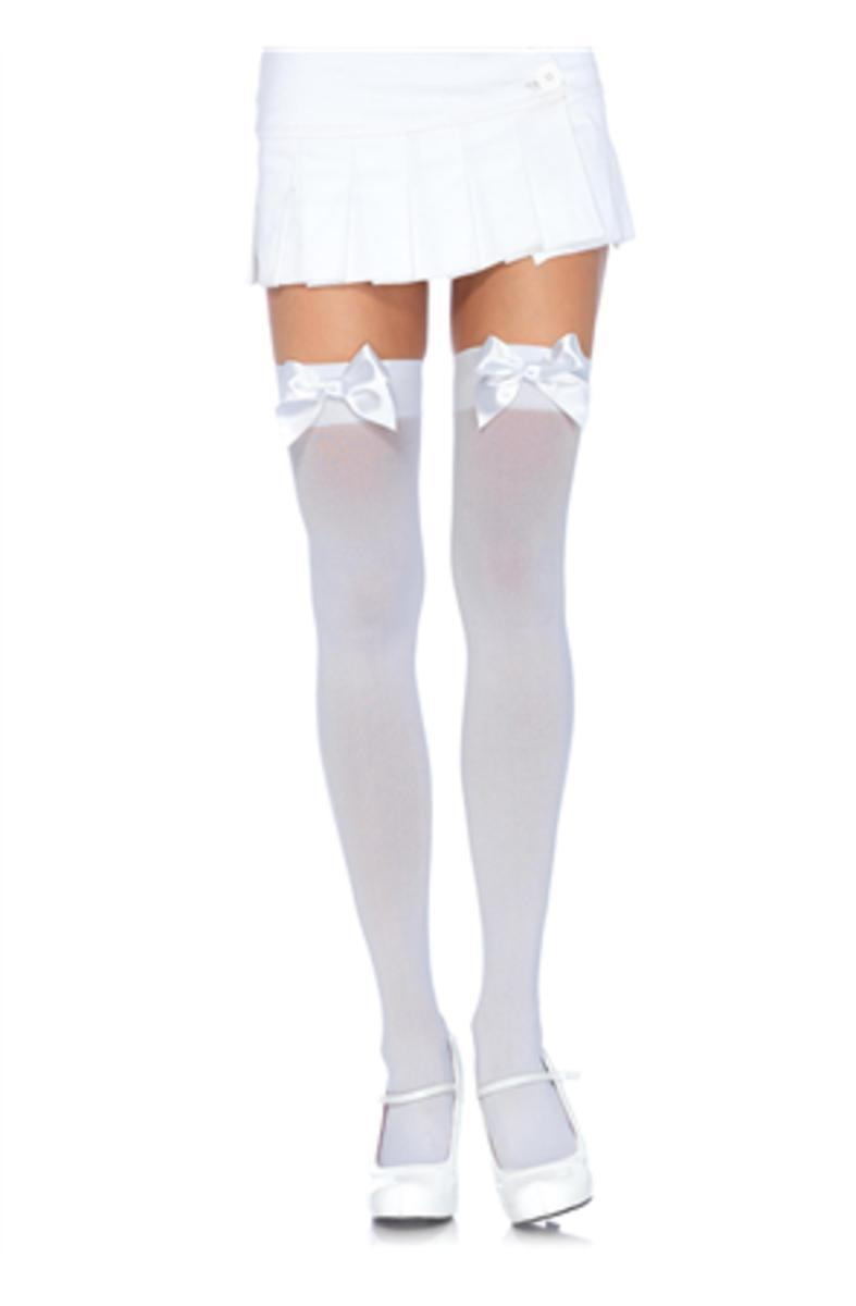 Nylon Over The Knee W/Bow in WHITE