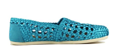 Toms for Women: Classic Teal Satin Woven