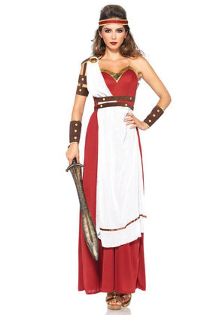 3PC.Spartan Goddess,dress w/apron and belt,arm wraps,headband in MULTICOLOR