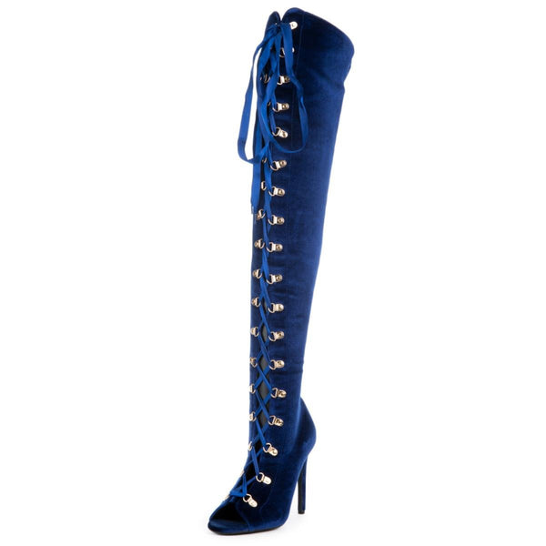 Cape Robbin Women's Olga-27 Blue High Heel Boot