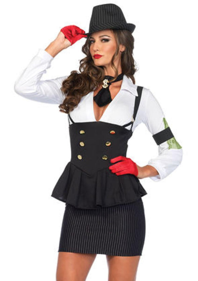 3PC.Machine Gun Molly,suspender dress,arm band,dollar sign tie in BLACK/WHITE