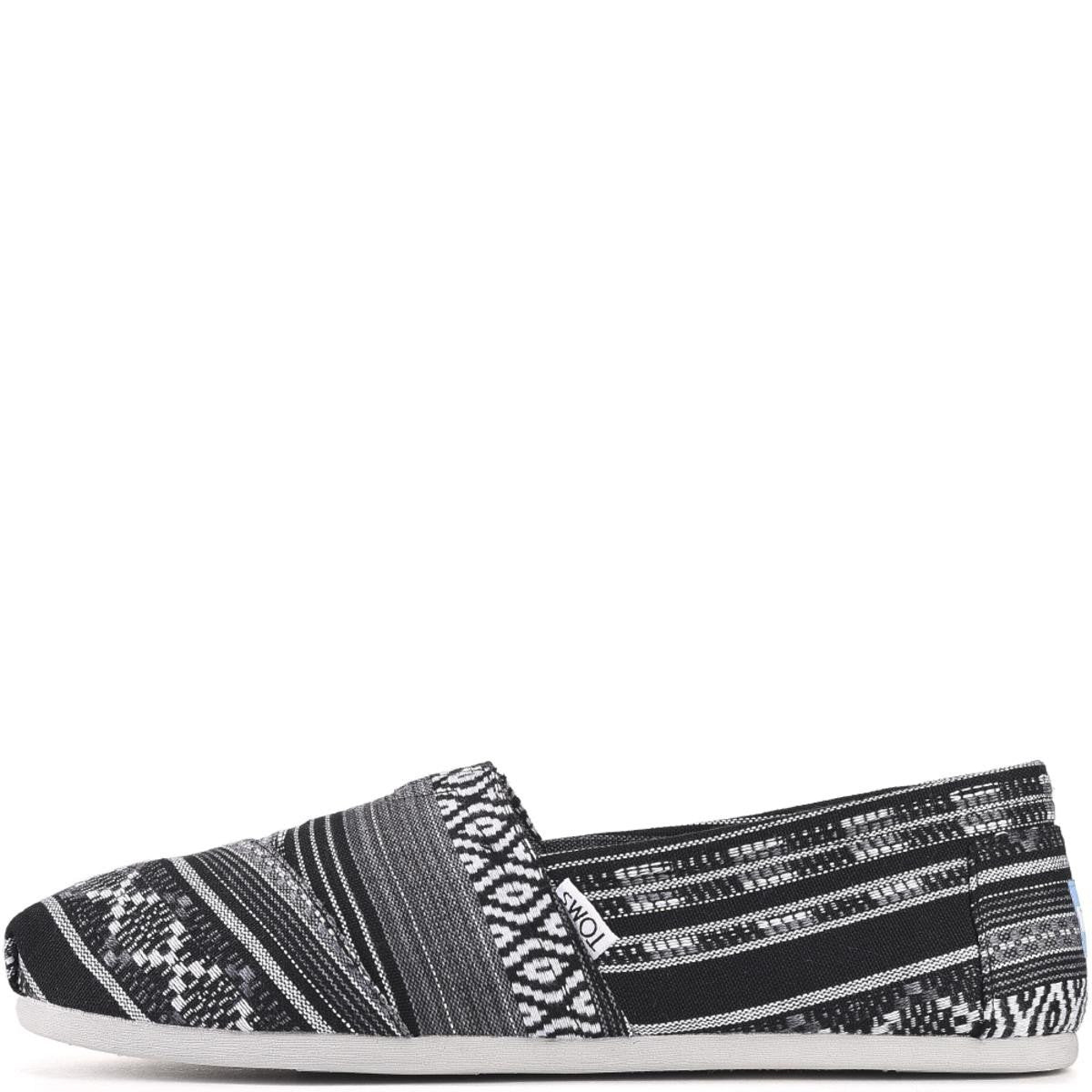 Toms for Men: Classic Black/White Woven Linear Cultural Flats