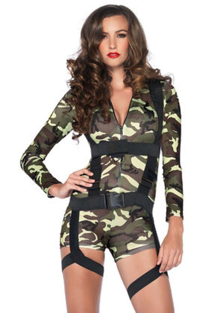 2PC.Goin' Commando,spandex romper,body harness in CAMO