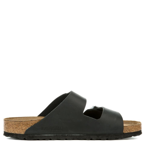 Birkenstock Unisex: Arizona Soft Footbed Oiled Leather Black Sandals