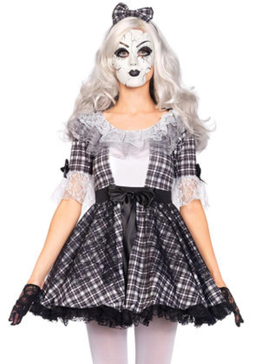 3PC.Pretty Porcelain Doll,dress,bow headband,face mask in BLACK/WHITE
