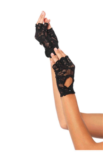Lace keyhole fingerless gloves in BLACK