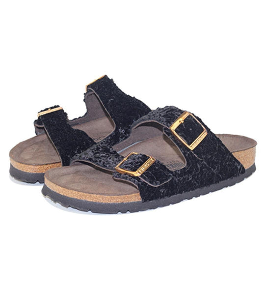 Birkenstock for Women: Arizona Suede/Textile Persian Black Soft Footbed Sandal