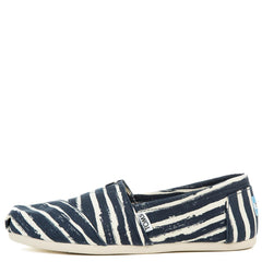 Women's Classic Navy Painted Stripe Print Flats
