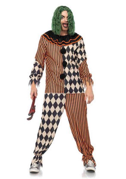 2PC.Creepy Circus Clown,ruffled collar and matching pants in MULTICOLOR