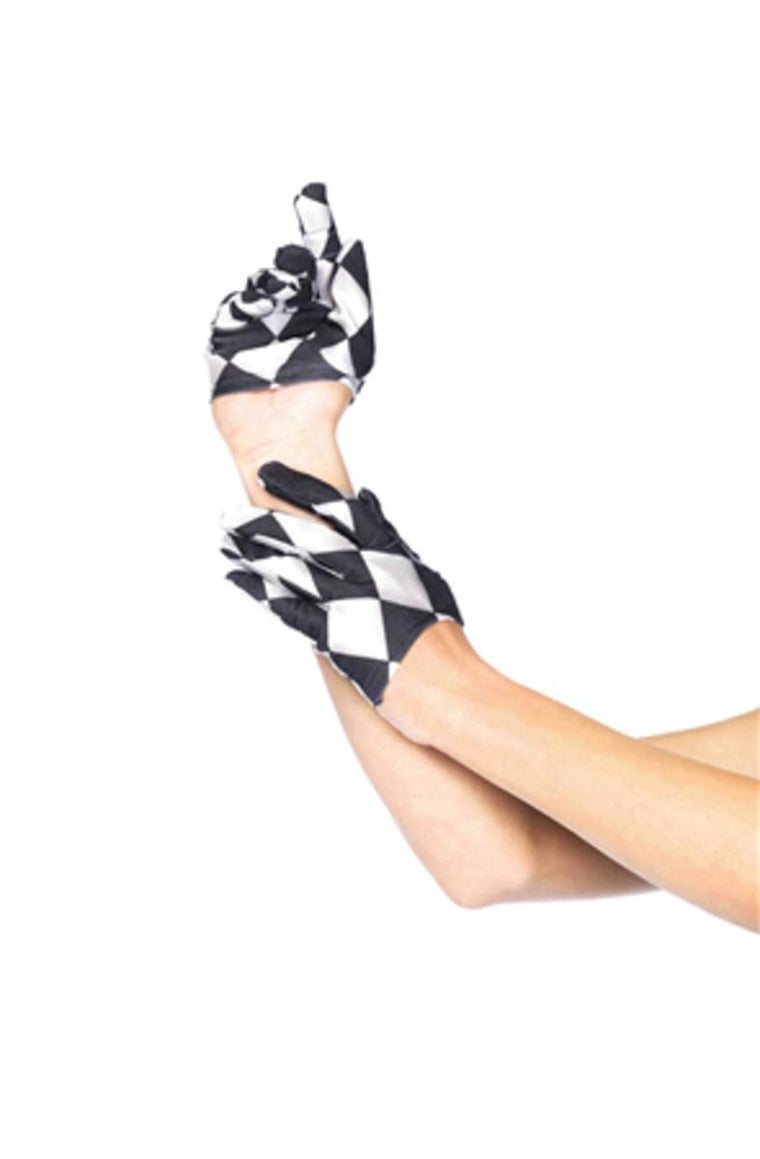Harlequin mini cropped gloves in BLACK/WHITE